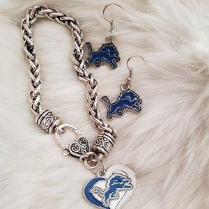 Jewelry - Detroit Lions Bracelet & Earrings